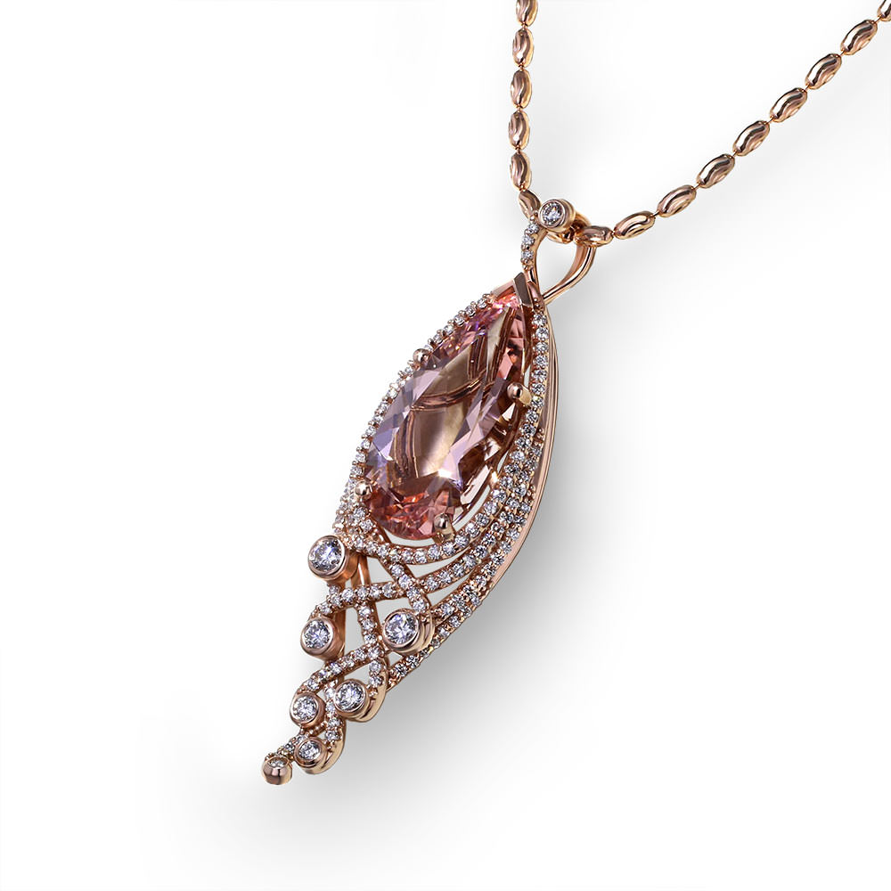 Pear Shape Morganite Necklace Jewelry Designs