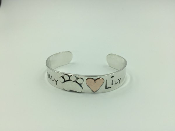 Paw and Heart Cuff bracelet