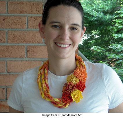 Orange flower necklace by Jenny