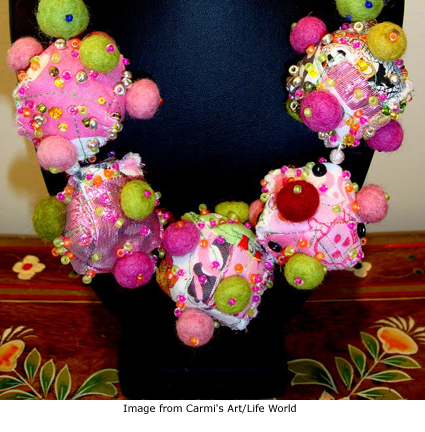 Carmi's Day of the Dead necklace of fabric and felted beads