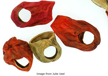dried and colored potato rings