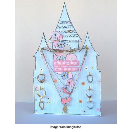View of one fairytale castle jewelry holder card