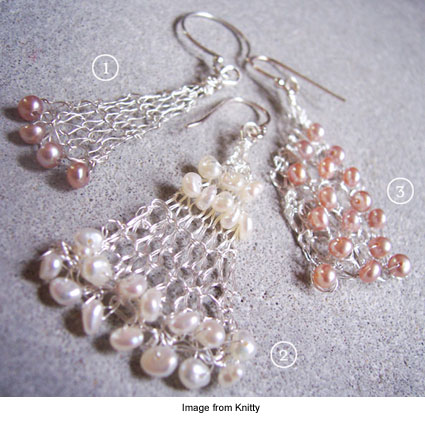knitted earrings from Rosemary Hill