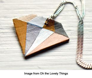 diamond shaped leather pendant