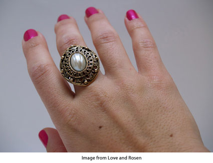 cocktail ring made from a vintage earring