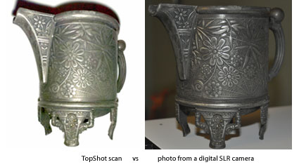 TopShot scan compared to a high resolution digital SLR camera image.