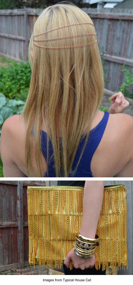 DIY hairchains and chain-fringed handbag