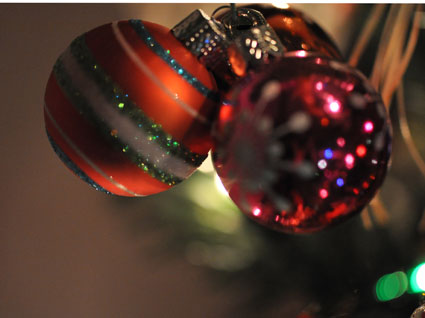 striped and dotted ornaments