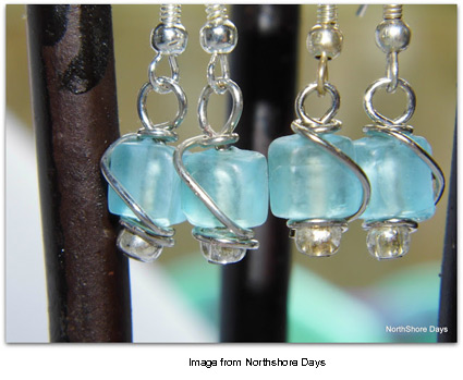 sea glass earrings from Northshore Days