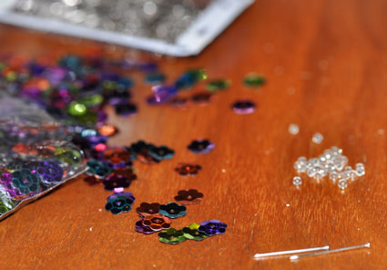 Sequins and pins make sparkly ornaments.