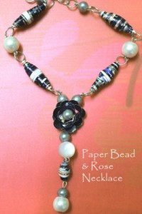 Paper and Bead Necklace