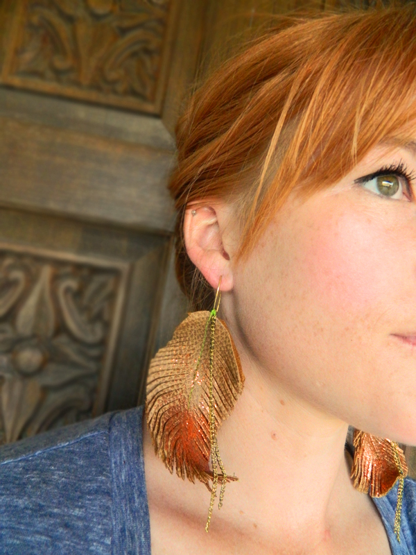 diy boho leather feather earrings 3