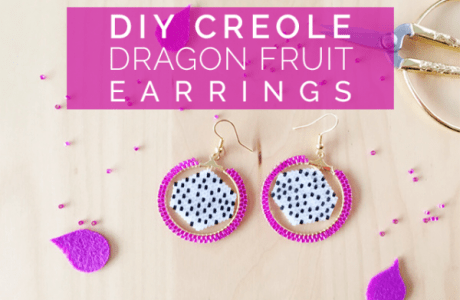 Beaded Dragon Fruit Earrings