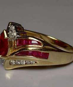 Red Zircon, Ruby, & Diamond Cocktail Ring side view