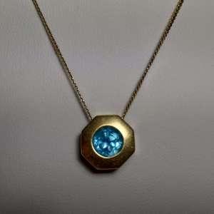 Blue Topaz Gold Necklace