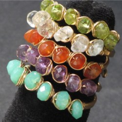 wire wrapped adjustable size gemstone rings tutorial