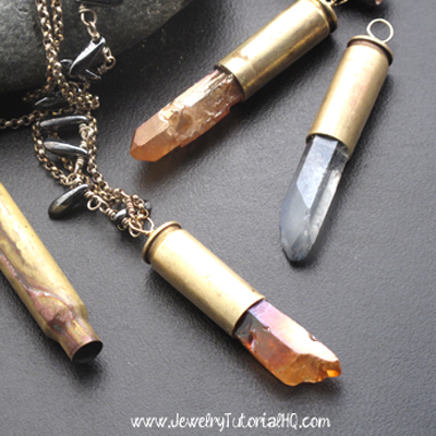how to make bullet shell pendants - video tutorial from JewelryTutorialHQ.com