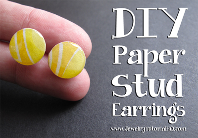 DIY Paper Stud Earring Tutorial {video}: Learn how to make these cute + colorful stud earrings and find tons more free jewelry making tutorials at https://jewelrytutorialhq.com