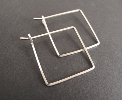 Square hoop earrings made with square jewelry wire.