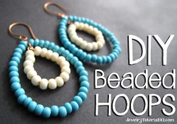 DIY beaded hoop earrings