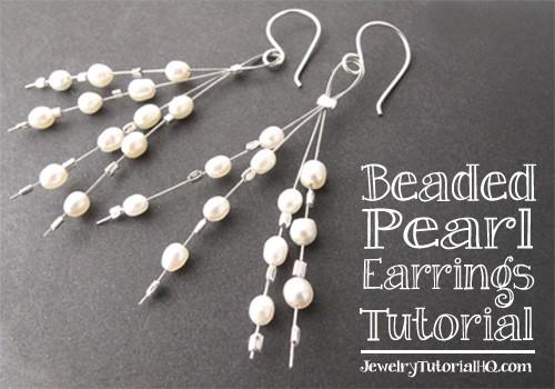 Free jewelry tutorial: Beaded Pearl Earrings from JewelryTutorialHQ.com