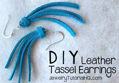 DIY leather tassel earrings
