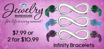 Infinity Cord Bracelets! $7.99 or 2 for $10.99 - Available in stores or online. http://www.jewelrywarehouse.com