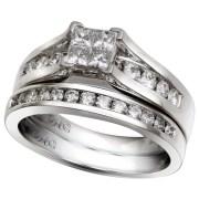 14K White Gold 1.00 Ctw Quad Bridal Set