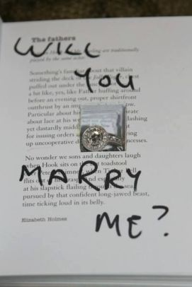 2. Find her favorite book (hopefully a copy!) and place the ring inside