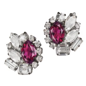 Alan Anderson Amethyst and Crystal Button Earrings