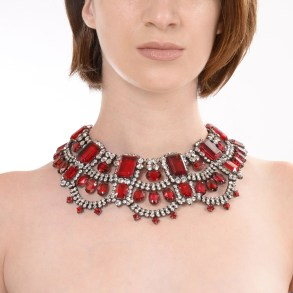 Alan Anderson Scalloped Bib Necklace Ruby