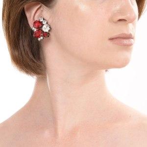 Alan Anderson Button Earrings Ruby