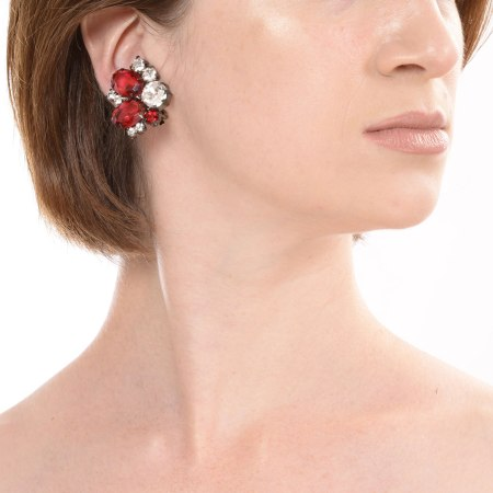 Alan Anderson Button Earrings Ruby