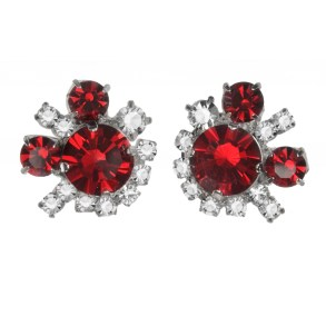 Jewels by Alan Anderson Holiday Ruby & Crystal Button Earrings