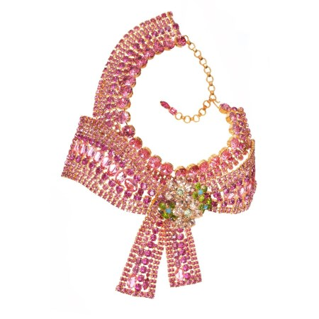 Alan Anderson Pink Crystal Bow Necklace in 14K Gold