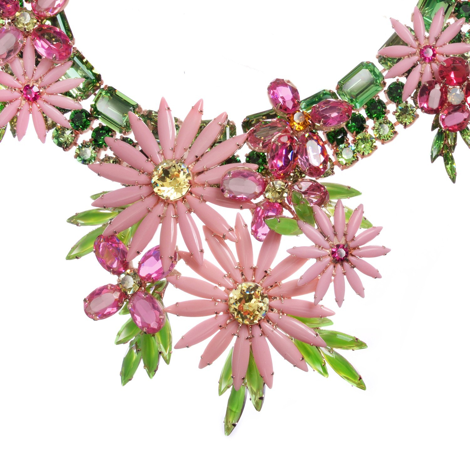 Pink and green dimensional floral bib necklace jewels by alan pink and green dimensional floral bib necklace mightylinksfo