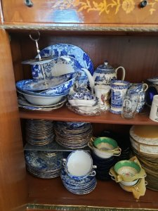 A small sample of my china habit, Royal Crown Derby 'blue Mikado'.