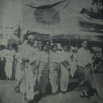 Students mark National Day in Rangoon 1938