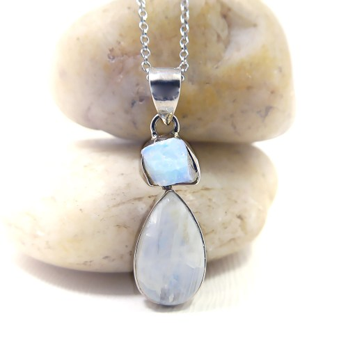 Opal and Moonstone Pendant in Sterling Silver