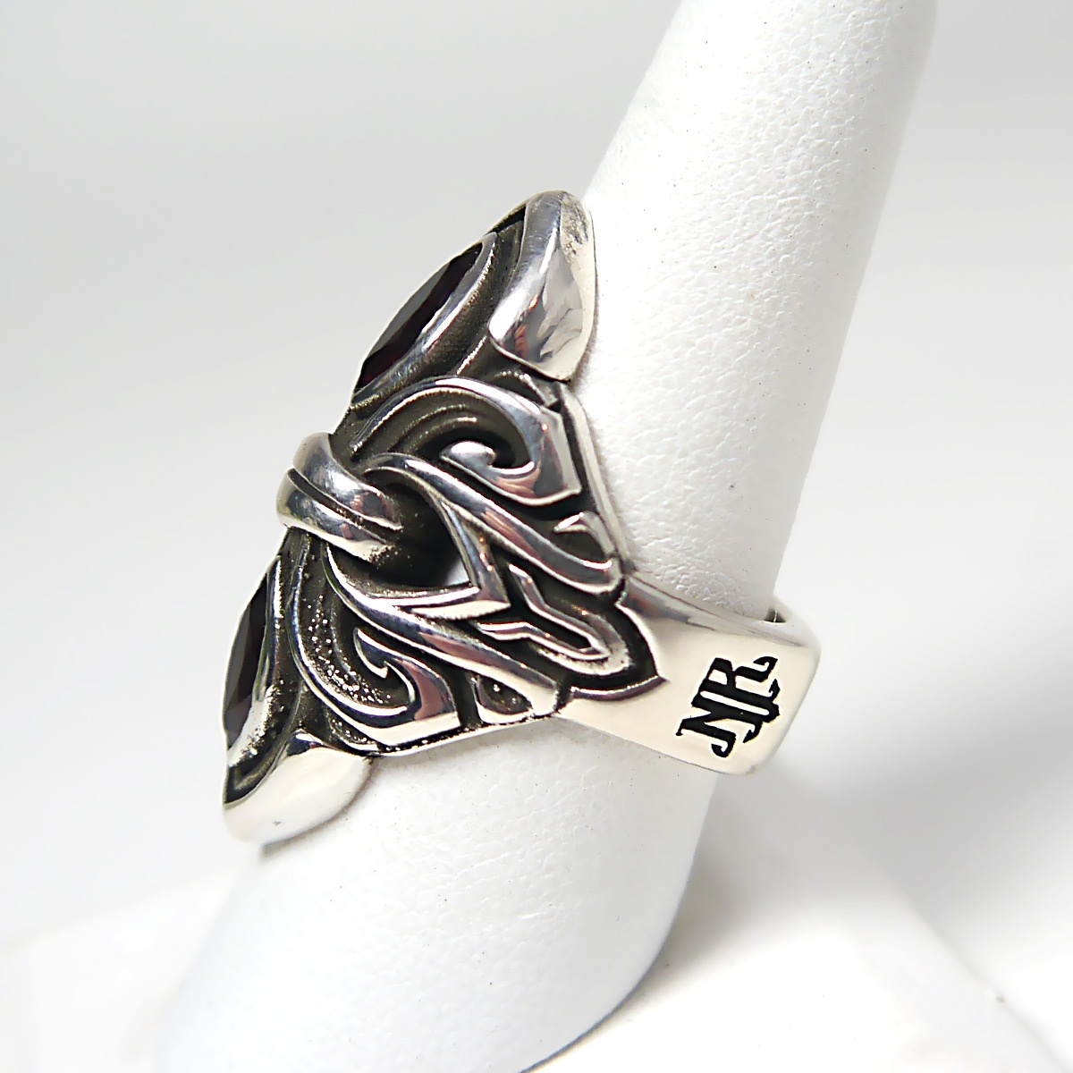NightRider Alexandria Ring in Sterling Silver with Garnets