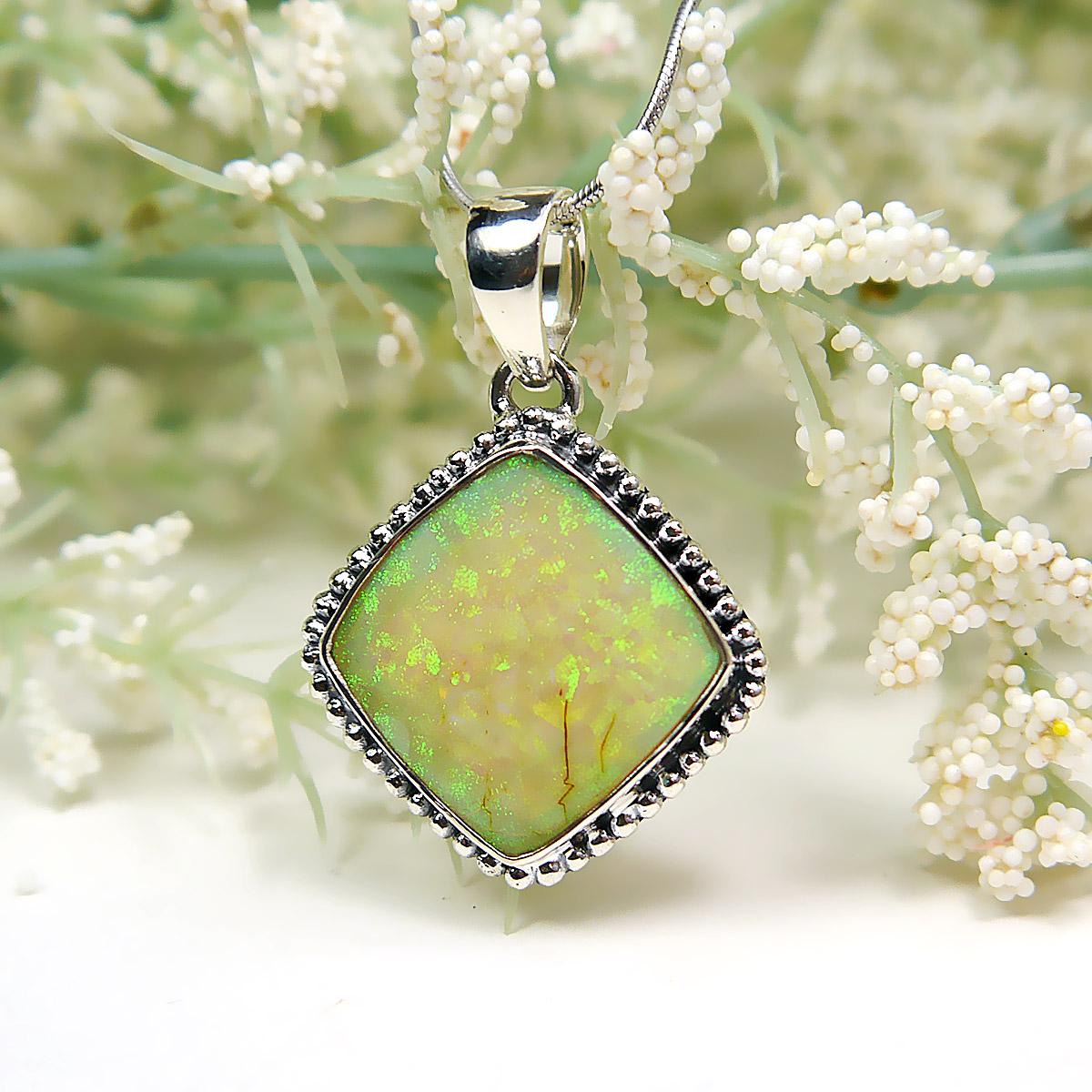 Ethiopian Opal Gemstone Pendant in Sterling Silver