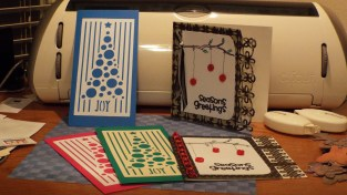 Lots of fun this year as we created cards using die cuts, punched paper edges, and old collected embellishments.