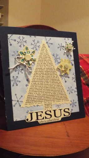 "Simple and effective FREE clipart images that focus on the ""Reason for the Season"" were printed on cream textured paper and mounted on simple scrapbook paper backgrounds for this quick and easy card."