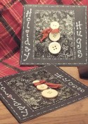 Snowmen cards using old buttons, scraps of ribbon, and black and white printouts created this simple holiday card