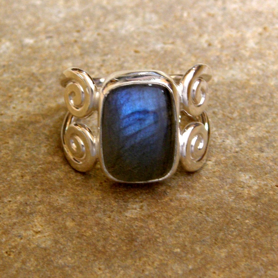 Silver Labradorite Power Ring