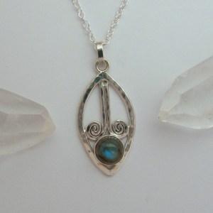 Labradorite Lotus Seed Hammered Silver Pendant
