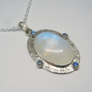 Rainbow Moonstone Silver Medallion