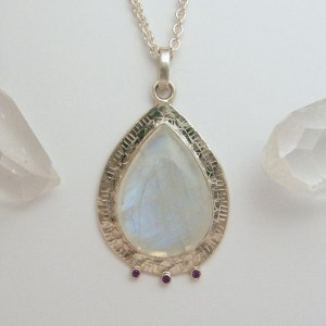Rainbow Moonstone Teardrop Silver Medallion Pendant