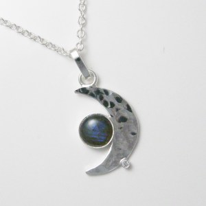 labradorite crescent moon pendant
