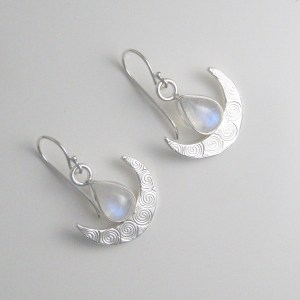 rainbow moonstone spiral texture crescent moon earrings
